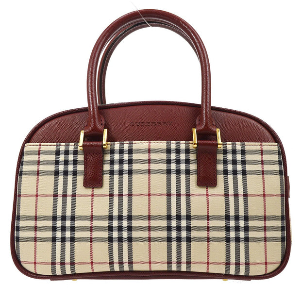 BURBERRY Check Hand Bag Beige
