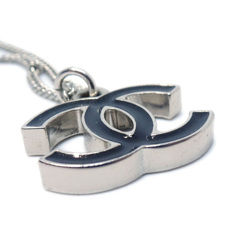 CHANEL Silver Chain Pendant Necklace 06V