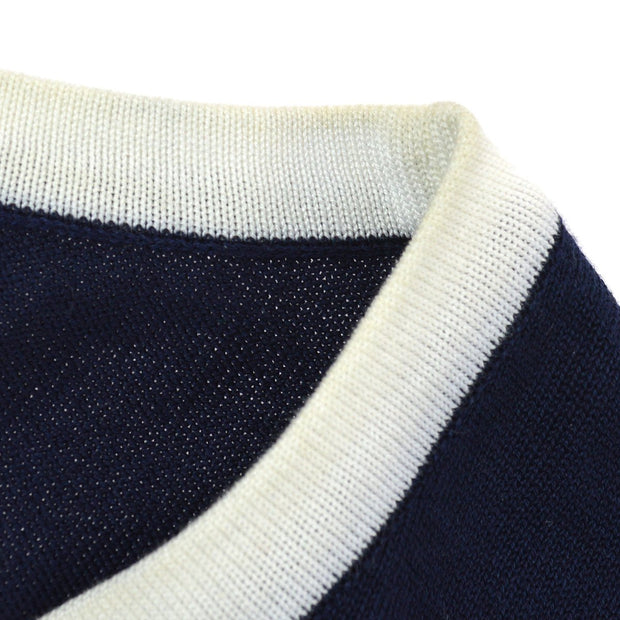 CHANEL 94P #36 Short Sleeve Knit Tops Navy