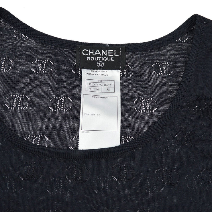 CHANEL 98P #38 Short Sleeve Knit Tops Black