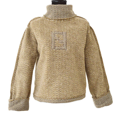 FENDI Turtleneck Long Sleeve Tops Brown