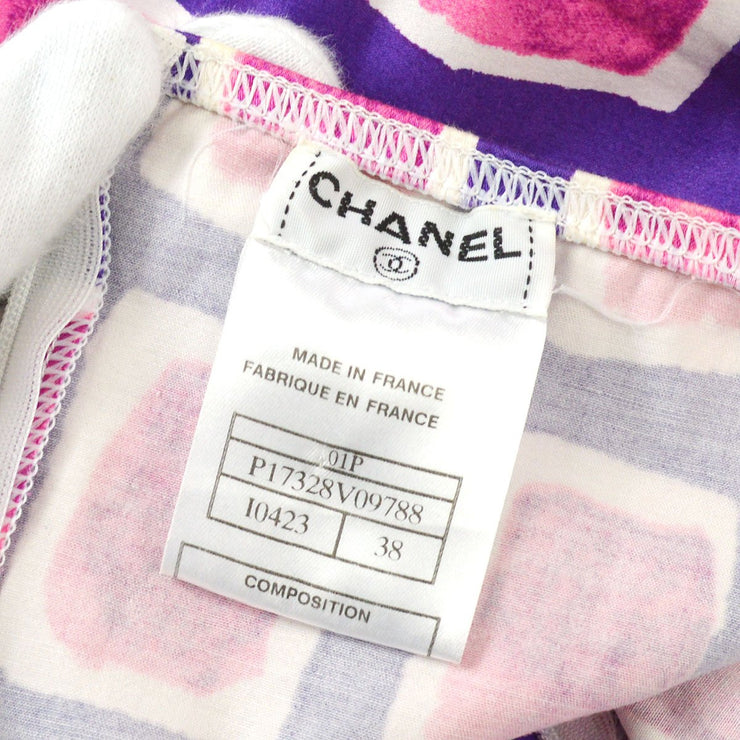 CHANEL 01P #38 CC Sleeveless One Piece Dress Skirt Purple Pink