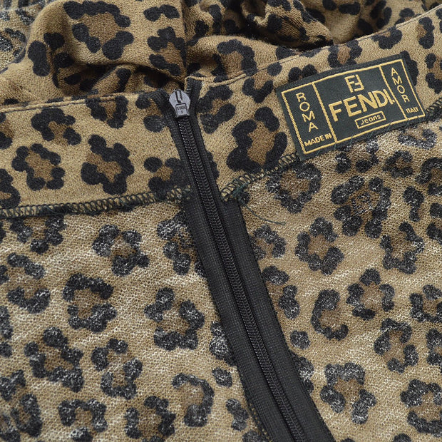 FENDI Leopard Pattern Long Sleeve One Piece Dress Brown