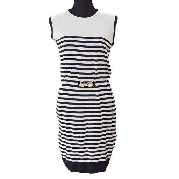 Salvatore Ferragamo Sleeveless One Piece Dress Skirt Black White
