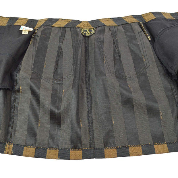 FENDI Pequin Pattern Button Up Skirt Brown