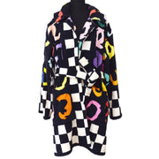CHANEL 95P #36 Belted Bathrobe Style Coat Gown Black
