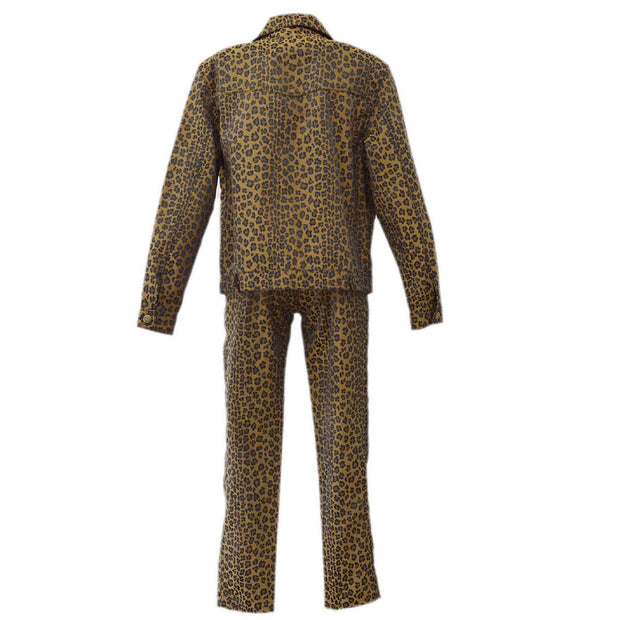 FENDI Leopard Pattern Long Sleeve Setup Pants Brown