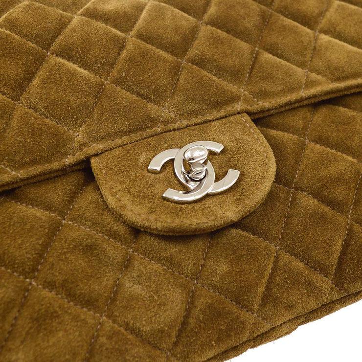 CHANEL Single Chain Shoulder Bag Brown Suede