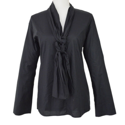 HERMES V-Neck Long Sleeve Tops Shirt Black #36