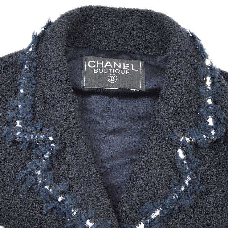 CHANEL 94A #42 Set Up Suit Jacket Skirt Dark Navy
