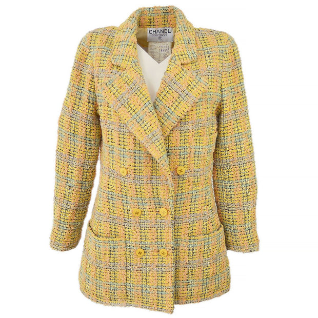 CHANEL 94A #38 Tweed Double Breasted Jacket
