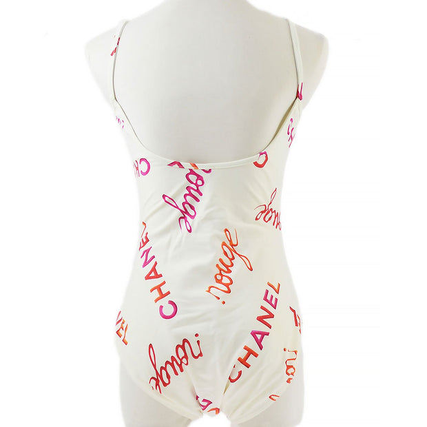 CHANEL 96P #42 Sleeveless Dress Swimwear Swimsuit White