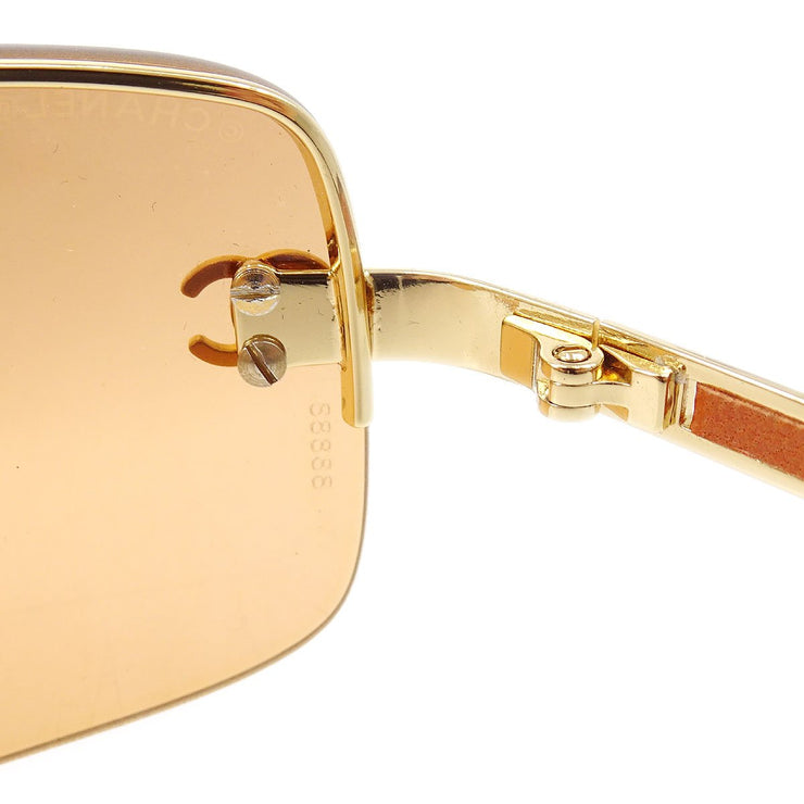 CHANEL Sunglasses Eye Wear Brown Gold Plastic