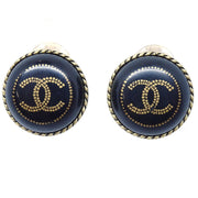 CHANEL Button Earrings Black Clip-On 00A