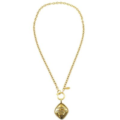 CHANEL Rhombus Gold Chain Pendant Necklace