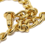 CHANEL Turnlock Rhinestone Gold Chain Pendant Necklace 96A