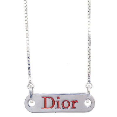 Christian Dior Plate Silver Chain Pendant Necklace