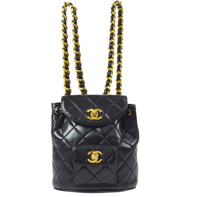 CHANEL Quilted Chain Mini Backpack Bag Black