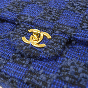 CHANEL 2 in 1 Hand Bag Set Blue Tweed