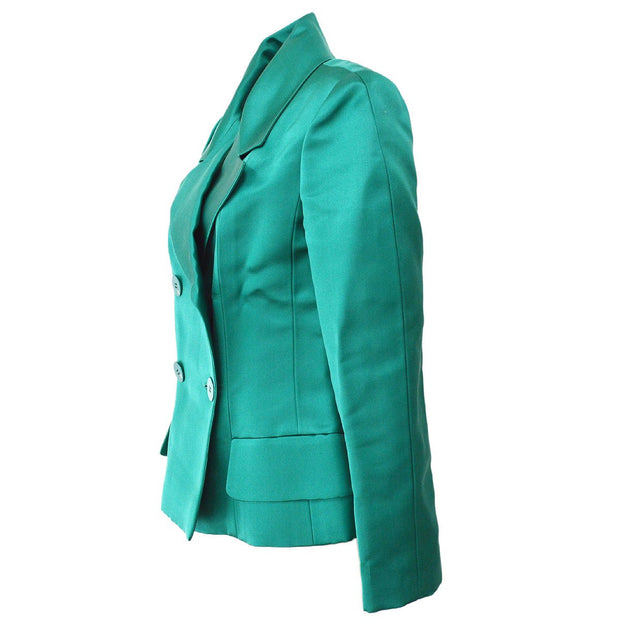 CHANEL 01A #36 Double Breasted Jacket Green