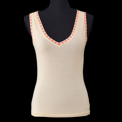 CHANEL 01S #38 Sleeveless Knit Tops Beige
