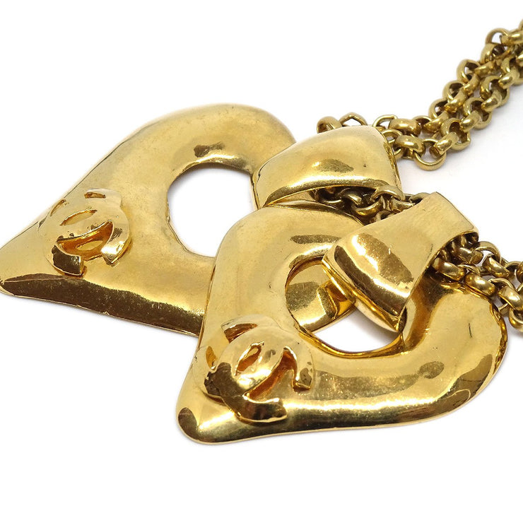 CHANEL Double Heart Gold Chain Necklace Pendant 93P
