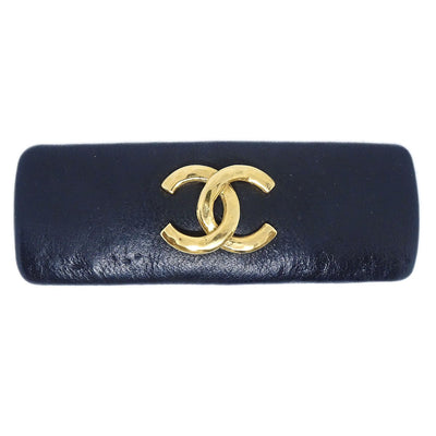CHANEL Hair Clip Hairpin Barrette Black Leather