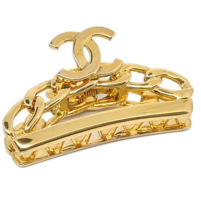 CHANEL Hair Clip Barrette Gold 98P