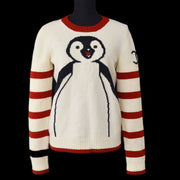 CHANEL 07A #40 Penguin Sweater Ivory Red