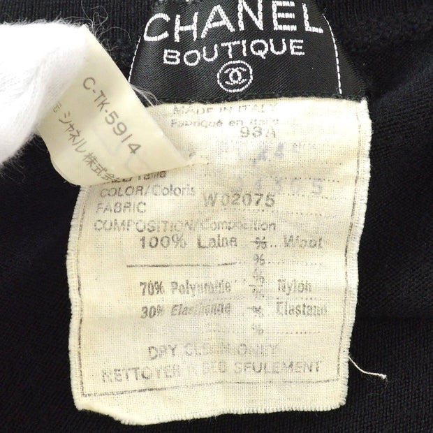 CHANEL 93A Knit One Piece Dress Black