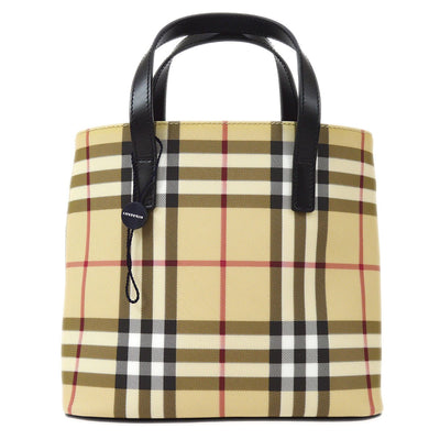 BURBERRY Check Hand Tote Bag Beige