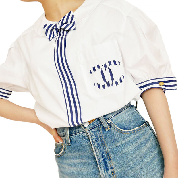 CHANEL Stripe Blouse #38 White from 1992