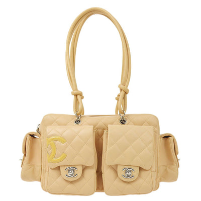 CHANEL Cambon Line Shoulder Bag Beige