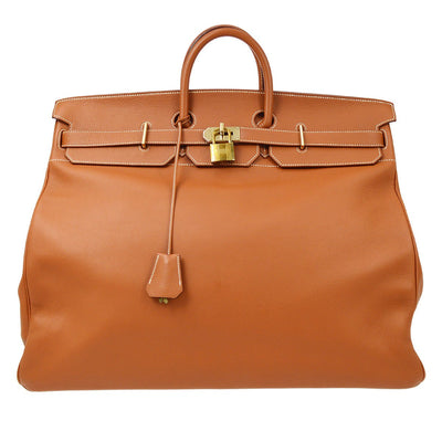 HERMES HAUT A COURROIES 55 Hand Bag Gold Fjord