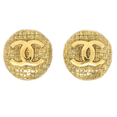 CHANEL Button Earrings Gold 29