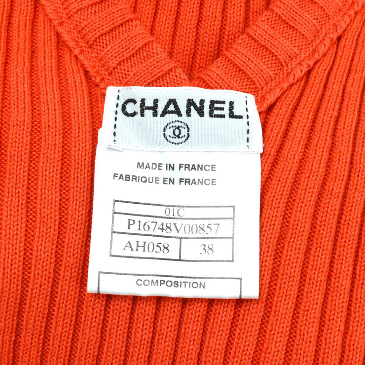 CHANEL 01C #38 Sleeveless Tops Red