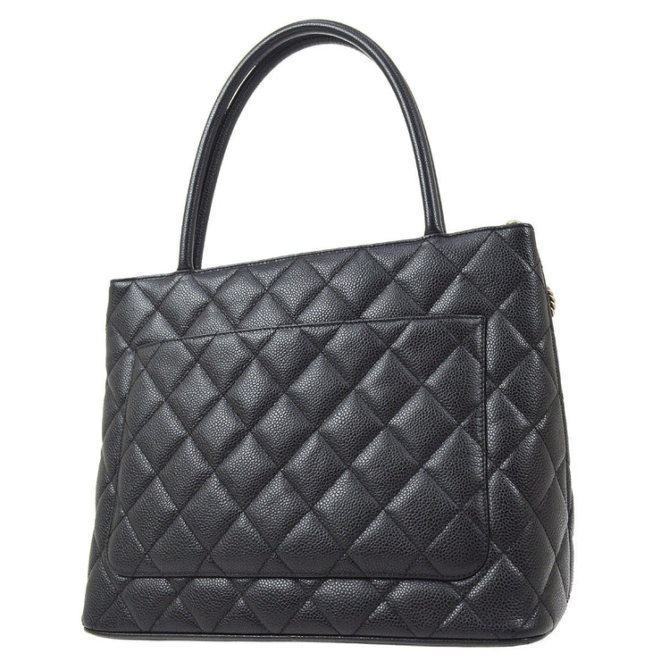 CHANEL Medallion Quilted Hand Tote Bag Black Caviar