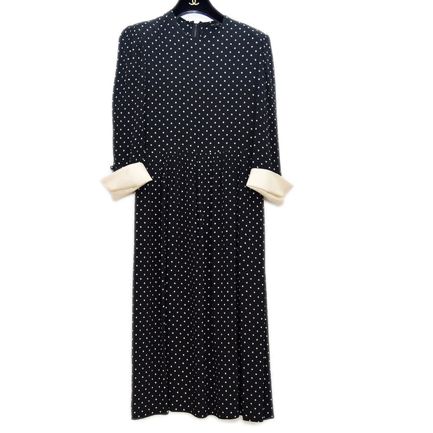 CHANEL CREATIONS VINTAGE COLLARLESS DOT DRESS BLACK 70's