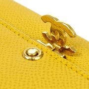 CHANEL Trifold Wallet Caviar Yellow