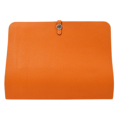 HERMES Dogon Meeting Document Case Clutch Bag Orange Togo