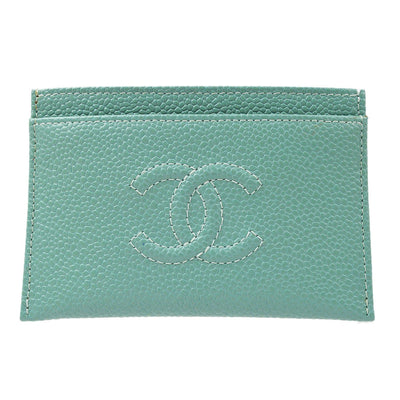 CHANEL Card Case Light Blue Caviar Skin