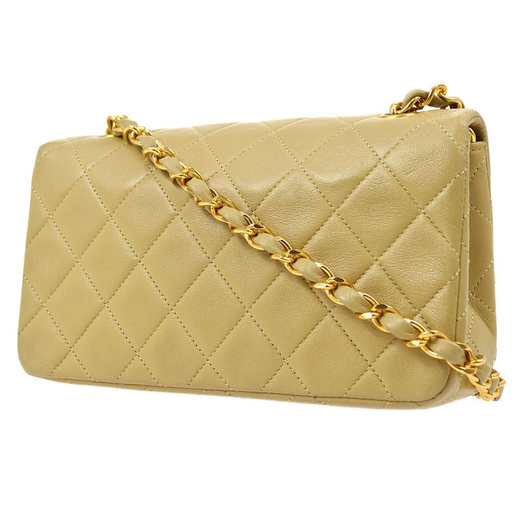 CHANEL Full Flap Chain Shoulder Bag Beige