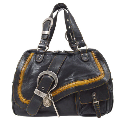 Christian Dior Gaucho Hand Bag Black