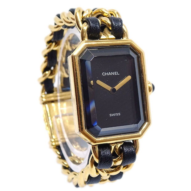 CHANEL Premiere Ladies Wristwatch Watch Quartz Gold Black #S