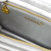 CHANEL Clutch Hand Bag Silver