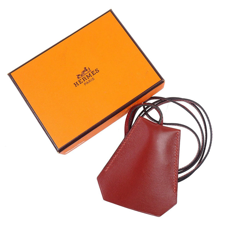 HERMES by Margiela Cover of Key Necklace Pendant Leather Bordeaux