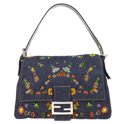 FENDI Hand Bag Denim Bead Indigo