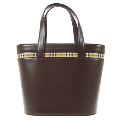 Burberry Nova Check Pattern Hand Bag Brown