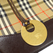 Burberry Nova Check Pattern Hand Bag Beige
