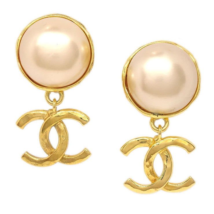 CHANEL Imitation Pearl Shaking Earrings Gold 29